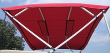 Under side view of replacement bimini top fabric in red.